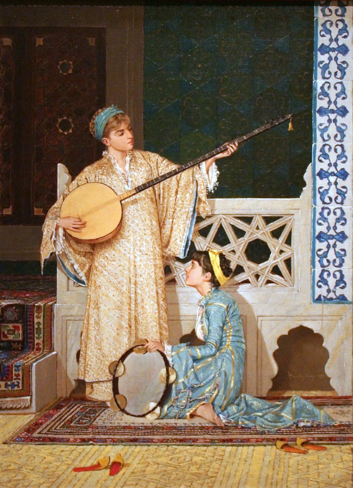 """Osman Hamdi Bey, """"İki Müzisyen Kız"""", 1880."""
